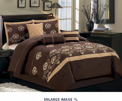7 Piece Queen Chocolate Floral Embroidered Comforter Set