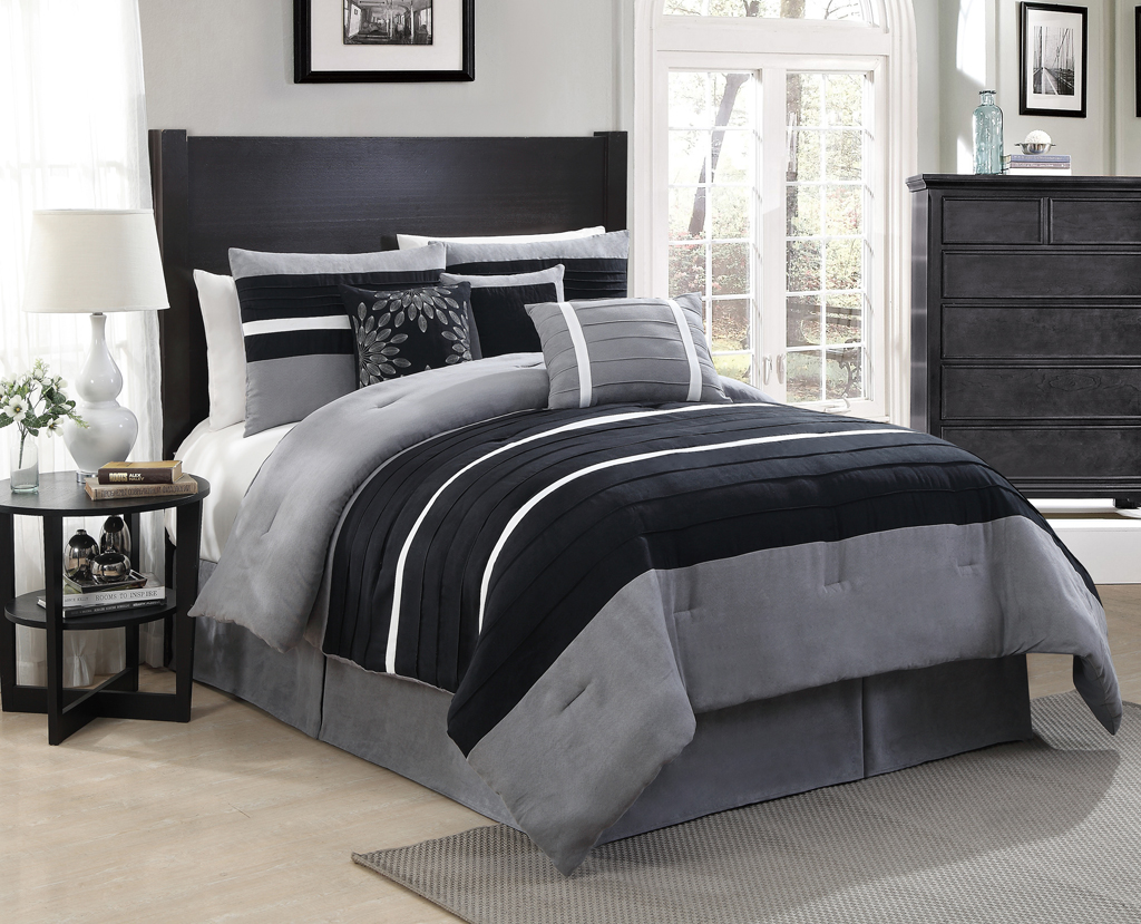 Black and grey bedding related keywords suggestions - Gray and black comforter set ...