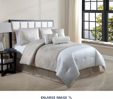 7 Piece Queen Claire Beige Embroidered Comforter Set