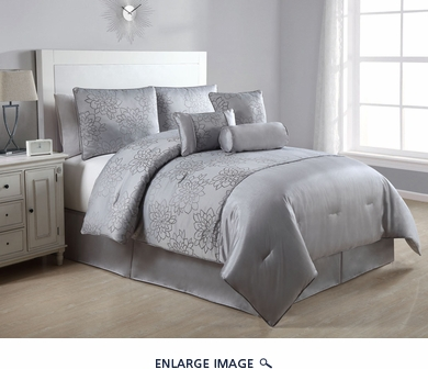 7 Piece Queen Claire Gray Embroidered Comforter Set