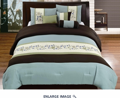7 Piece Queen Coffee and Blue Floral Embroidered Comforter Set