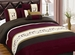 7 Piece Queen Coffee and Burgundy Floral Embroidered Comforter Set