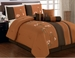 7 Piece Queen Coffee and Orange Floral Embroidered Comforter Set