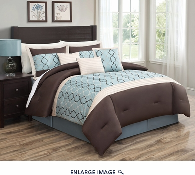 7 Piece Queen Cole Spa Blue and Chocolate Comforter Set
