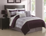 7 Piece Queen Cole Plum and Lavender Comforter Set