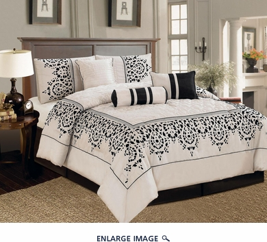 7 Piece Queen Corak Black and Ivory Comforter Set
