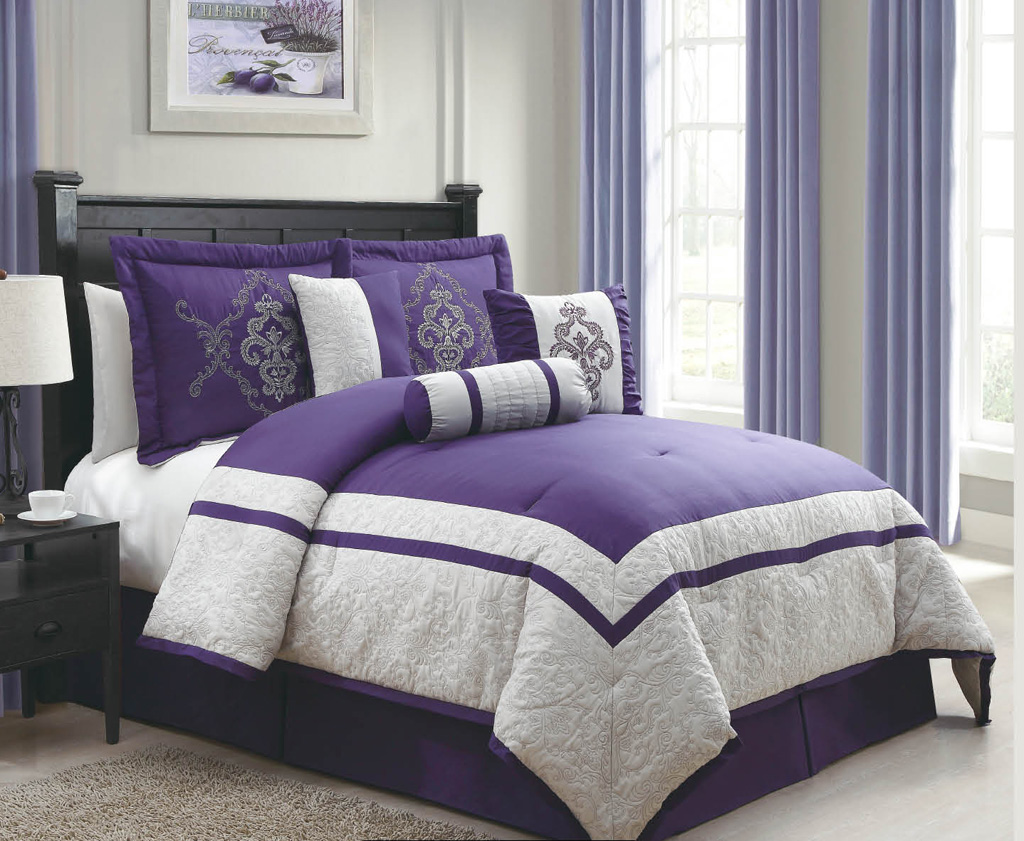 Gray and purple bed set and gray comforter set