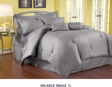 7 Piece Queen Damask Stripe 500 Thread Count Cotton Comforter Set Charcoal