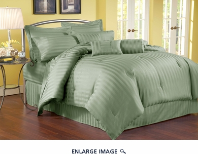 7 Piece Queen Damask Stripe 500 Thread Count Cotton Comforter Set Sage