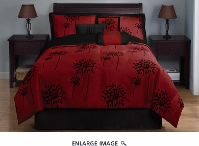 7 Piece Queen Dandelion Black and Burgundy Comforter Set