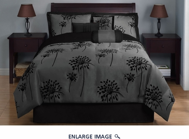 7 Piece Queen Dandelion Black and Gray Comforter Set
