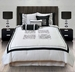 7 Piece Queen Danilo Embroidered Floral Black and White Comforter Set