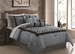 7 Piece Queen Deniro Flocking Comforter Set