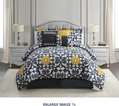 7 Piece Queen Devotion Print Comforter Set