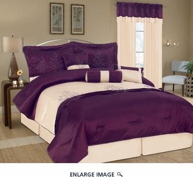 7 Piece Queen Eastbourne Purple Embroidery Bedding Comforter Set
