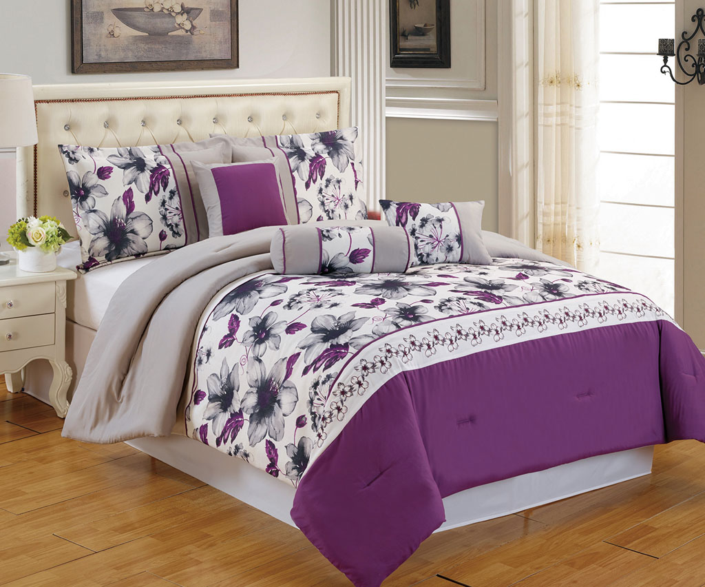 Download image purple and gray comforter sets queen pc android
