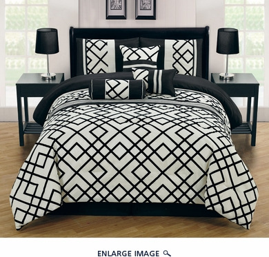 7 Piece Queen Esquire Flocked Black and Ivory Comforter Set
