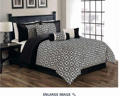 7 Piece Queen Gladstone Flocked Black and Ivory Comforter Set