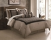 7 Piece Queen Hariette Black/Taupe Flocking Comforter Set
