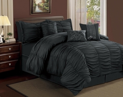 7 Piece Queen Hermosa Ruffled Comforter Set Black