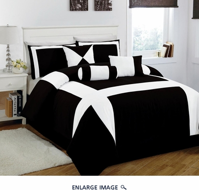 7 Piece Queen Jefferson Black and White Comforter Set