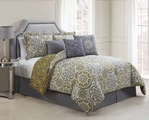 7 Piece Queen Jezebel Gray/Yellow Reversible Comforter Set