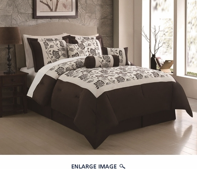 7 Piece Queen Jocelyn Chocolate/Ivory Flocking Comforter Set