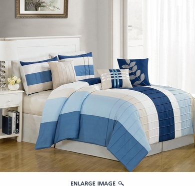 7 Piece Queen Kendal Blue Comforter Set