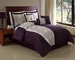 7 Piece Queen Lenore Purple Embroidered Comforter Set