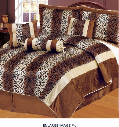 7 Piece Queen Leopard Stripe Micro Fur Comforter Set