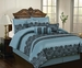 7 Piece Queen Madelyn Blue Comforter Set
