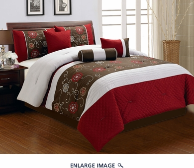 7 Piece Queen Marisa Floral Embroidered Comforter Set