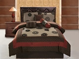 7 Piece Queen Medallion Brick and Coffee Applique Comforter Set