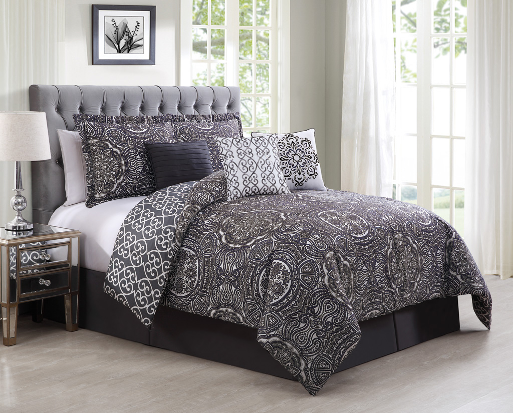 Piece queen minka gray purple reversible comforter set
