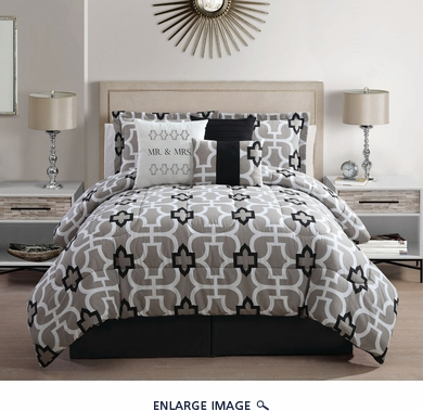 7 Piece Queen Mr. And Mrs. Print Comforter Set