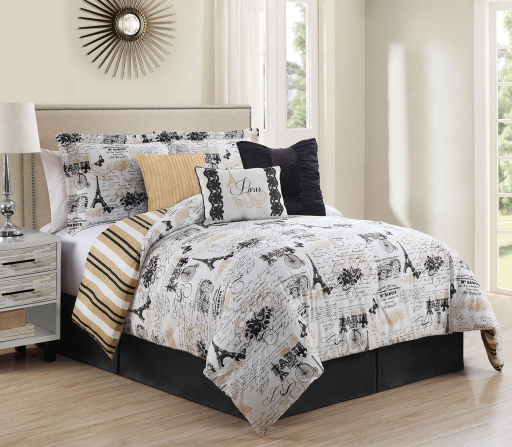 Piece Queen Oh-La-La Reversible Comforter Set