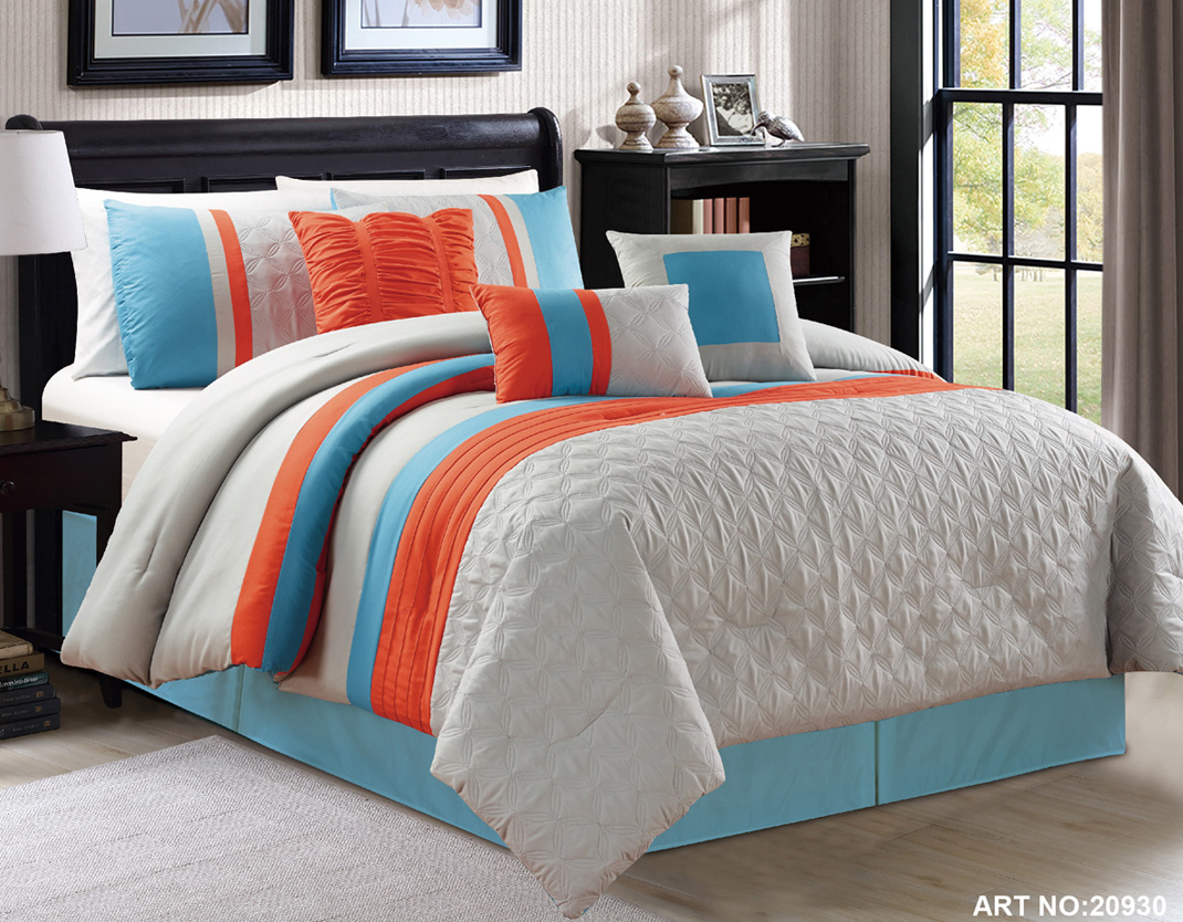 Blue and gray comforter sets king size 2017 2018 best - Orange and grey comforter ...