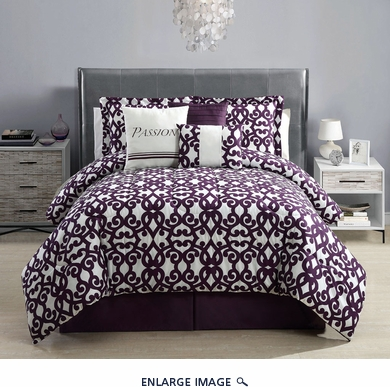 7 Piece Queen Passion Print Comforter Set