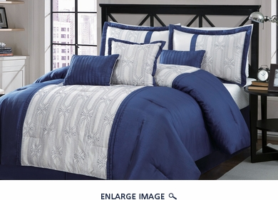 7 Piece Queen Percy Navy and Ivory Comforter Set