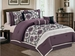 7 Piece Queen Purple and Ivory Flocked Comforter Set