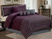 7 Piece Queen Purple Floral Embroidered Comforter Set