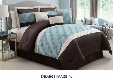 7 Piece Queen Regina Spa Blue and Chocolate Comforter Set