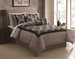 7 Piece Queen Richmond Flocking Black/Taupe Comforter Set