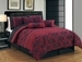 7 Piece Queen Rily Floral Scroll Black and Red Comforter Set