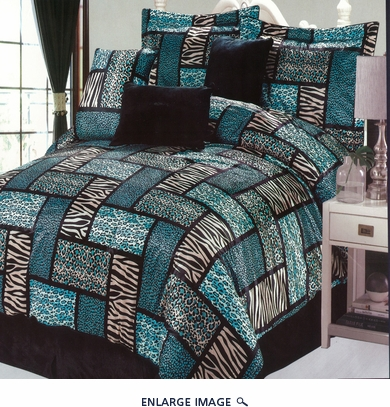 7 Piece Queen Safari Turquoise Patchwork Micro Suede Comforter Set