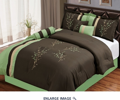 7 Piece Queen Sage and Coffee Floral Embroidered Comforter Set