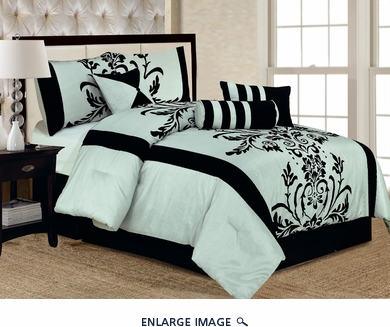 7 Piece Queen Salma Aqua Blue and Black Flocking Comforter Set