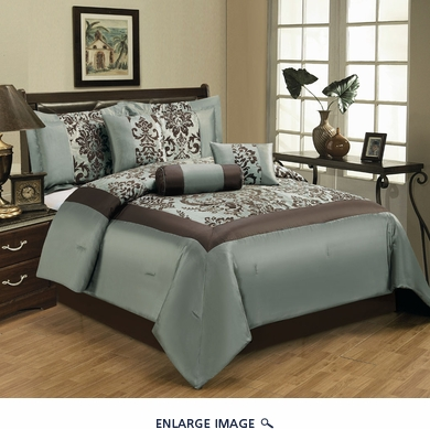 7 Piece Queen Salzburg Aqua Flocked Comforter Set