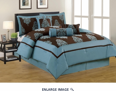 7 Piece Queen San Marino Blue and Coffee Comforter Set