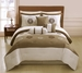 7 Piece  Queen Solstice Embroidered Comforter Set Tan/White